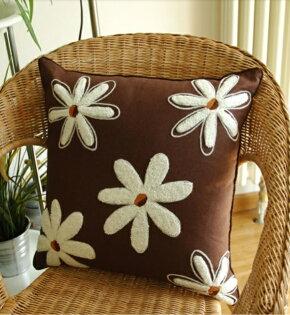 麻吉小舖:50*50田園北歐鄉村風太陽花刺繡枕套靠枕套抱枕套A60-3款單售