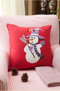 麻吉小舖:45*45田園北歐鄉村風可愛雪人刺繡枕套靠枕套抱枕套A153-6款單售