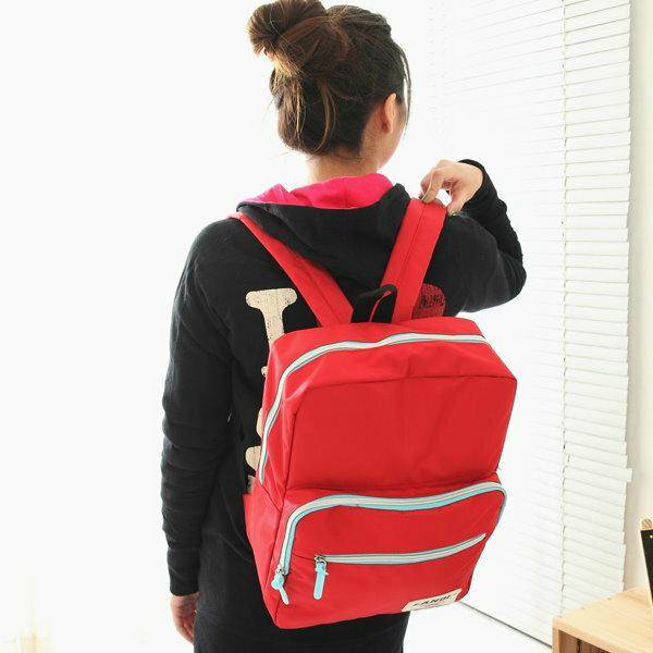 日韓新款學院風休閒時尚方形雙肩包潮電腦背包男女學生書包