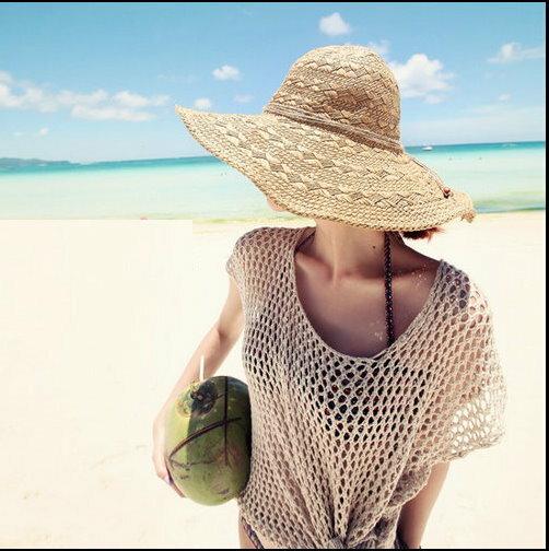 2015 春夏海灘度假 大簷草帽沙灘帽大沿帽遮陽帽折疊太陽帽子