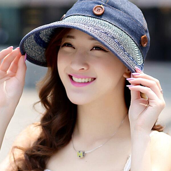 防紫外線遮陽帽子女士夏天韓版大沿草帽戶外太陽帽騎車防曬帽