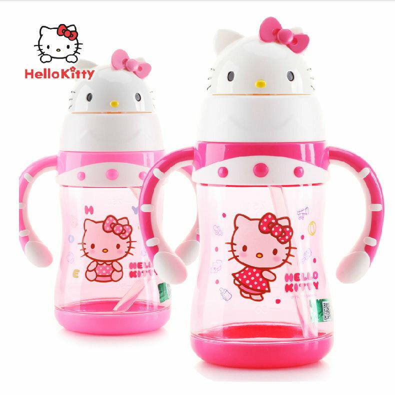 2015新款 Hello Kitty凱蒂貓 帶手柄軟嘴防漏學飲杯寶寶吸管杯不含雙酚A