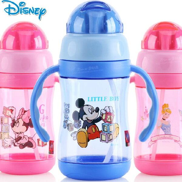 新款迪士尼帶手柄軟嘴防漏學飲杯寶寶吸管杯不含雙酚A