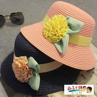 夏季韓版兒童遮陽帽草帽短簷花朵折疊漁夫盆帽防曬帽-兒童款