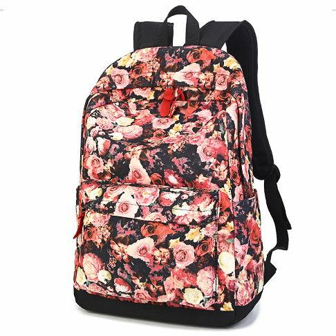 新款復古學院風書包玫瑰印花雙肩包女休閒學生背包旅遊電腦包