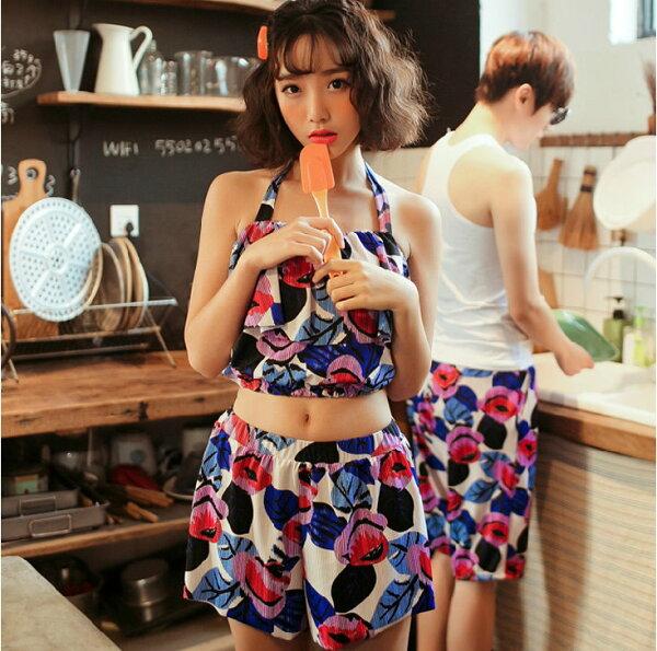 韓國夏新款 分體泳衣大小胸聚攏顯瘦比基尼裙式三件套溫泉保守泳衣/女生款
