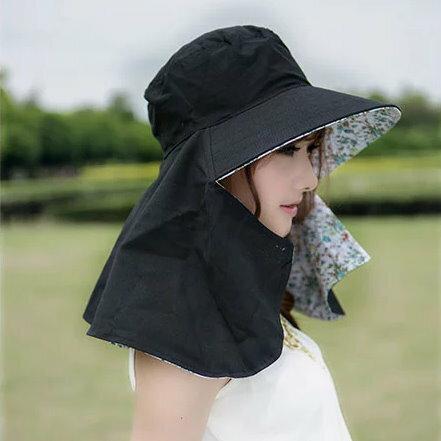 夏天女士遮陽防曬騎車帽子戶外防紫外線遮臉折疊電動車大沿太陽帽 ~  好康折扣