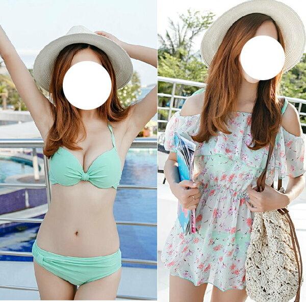 韓國夏新款 度假風比基尼聚攏鋼托三件套泳裝泳衣