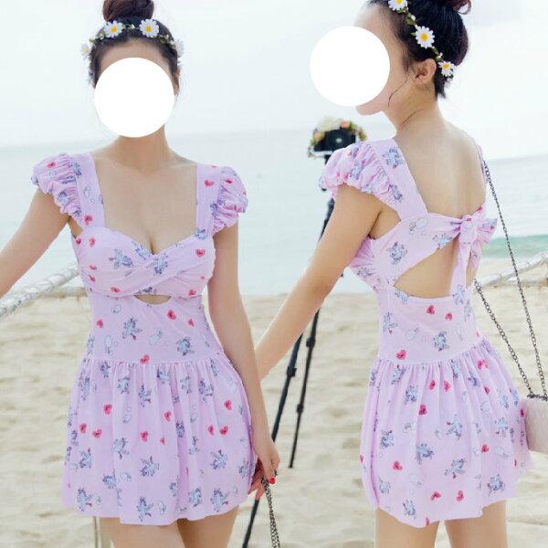 韓國夏新款泳裝裙式分體可愛保守兩件套泳裝泳衣