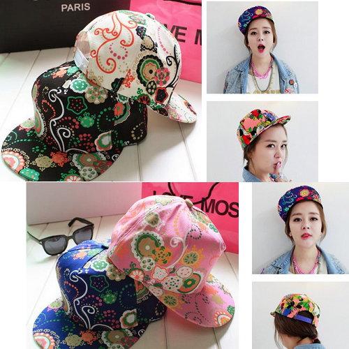 日韓新款潮流棒球帽平沿帽街舞嘻哈滑板帽彩色塗鴉5款-單售