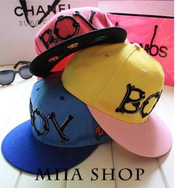 日韓新款 潮流 棒球帽 平沿帽 街舞嘻哈滑板帽 字母BOY款-單售