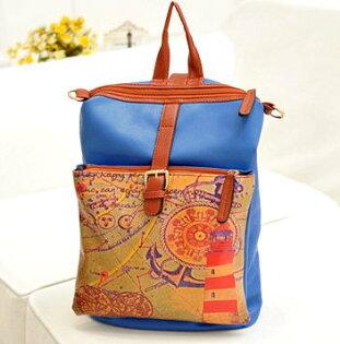 日韓新款流行時尚後背包書包旅行包海軍風地圖仿皮款8603-5色單售