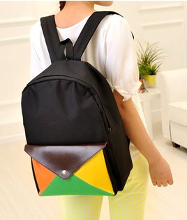 日韓新款流行時尚後背包書包旅行包信封螢光款L73-5色單售