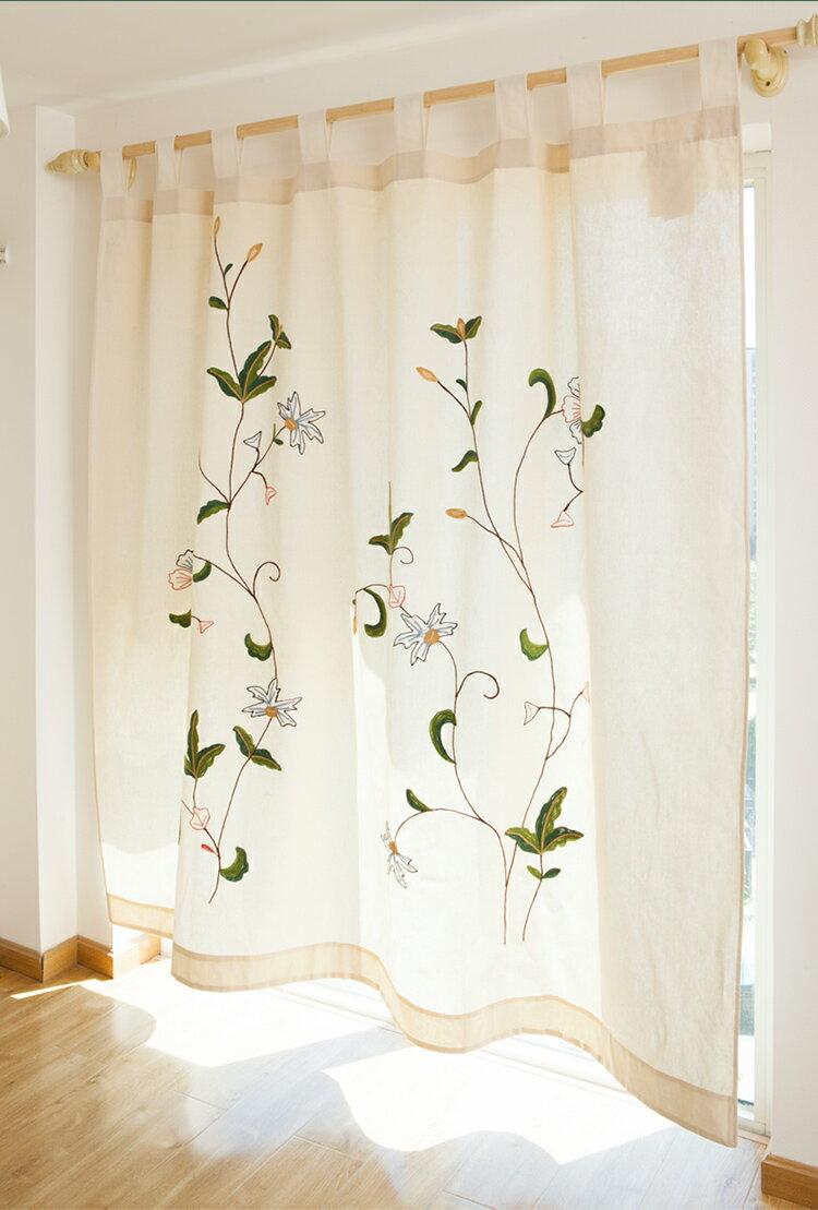 180x260cm田園北歐鄉村風 手工布藝 繡花款 窗簾 A193/單售