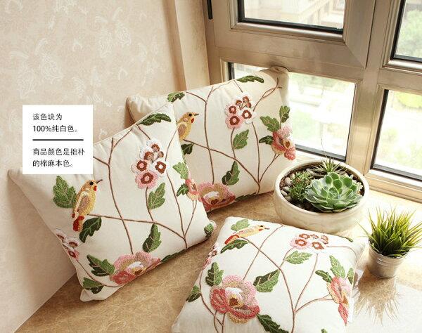 麻吉小舖:50*50田園北歐鄉村風手工刺繡枕套靠枕套抱枕套A206單售