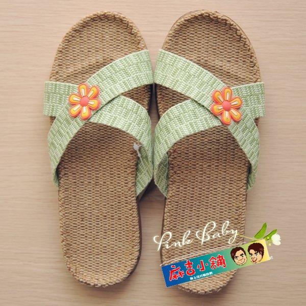 夏季室內拖鞋亞麻涼拖鞋女款拖鞋分尺碼-交叉花朵