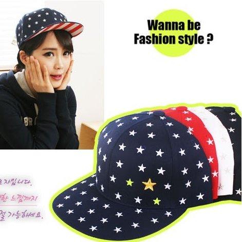 日韓新款潮流棒球帽平沿帽街舞嘻哈滑板帽星星條紋款-單售