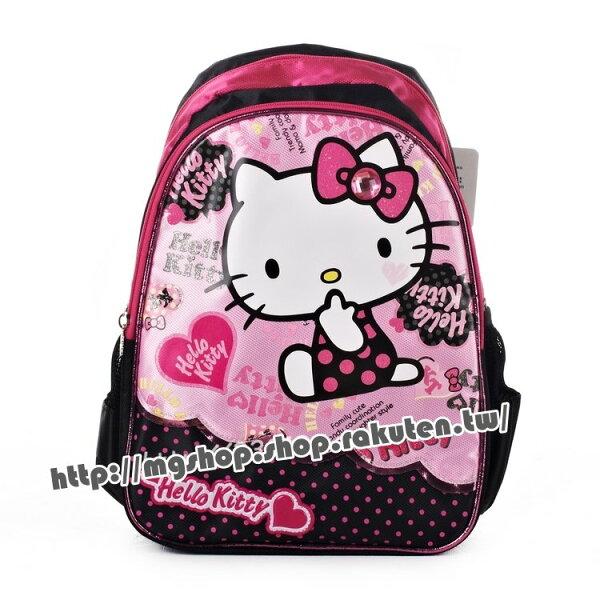 正版HelloKitty凱蒂貓幼稚園書包後背包-側坐愛心KT5007黑色款