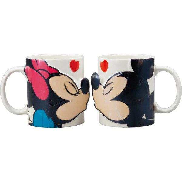 日本原裝 迪士尼 米奇米妮親親嘴 馬克杯 對杯組-SAN2148