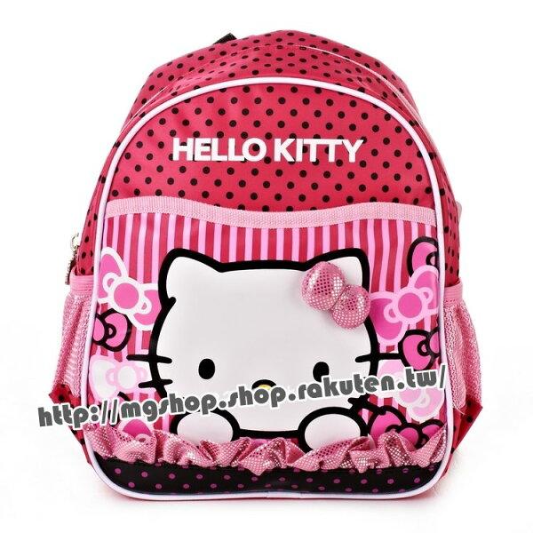 正版HelloKitty凱蒂貓幼稚園書包後背包-點點條紋大臉款KT5015桃紅色