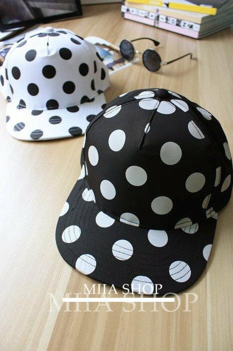 日韓新款 潮流 棒球帽 平沿帽 街舞嘻哈滑板帽 黑白點點款-單售