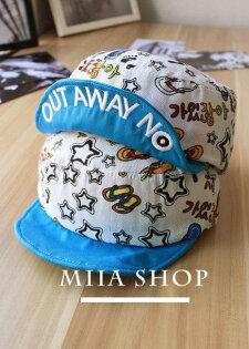 日韓新款潮流棒球帽平沿帽街舞嘻哈滑板帽休閒卡通圖案翻檐款-單售