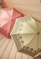 下雨天推薦雨靴/雨傘/雨衣推薦晴雨傘 防紫外線遮陽 雨傘 直傘 細柄花邊圖騰款-單售