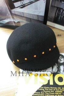 日韓新款潮流英倫復古羊毛呢騎士馬術帽圓頂帽鉚釘-單售