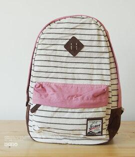 日本新款豬鼻條紋帆布後背包書包旅行包-4色單售