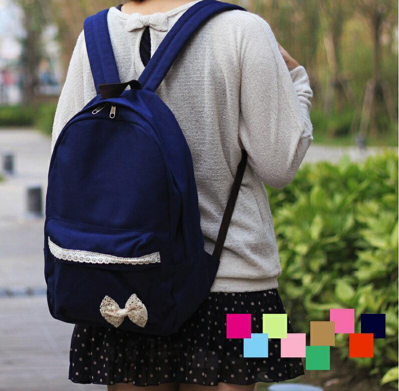 日本新款 後背包書包旅行包 清新甜美蕾絲蝴蝶結帆布款-8色/單售