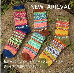 日韓系 GLOBAL WORK復古民族風襪子 粗線純棉 男女襪情侶中筒堆堆襪-3色/單售
