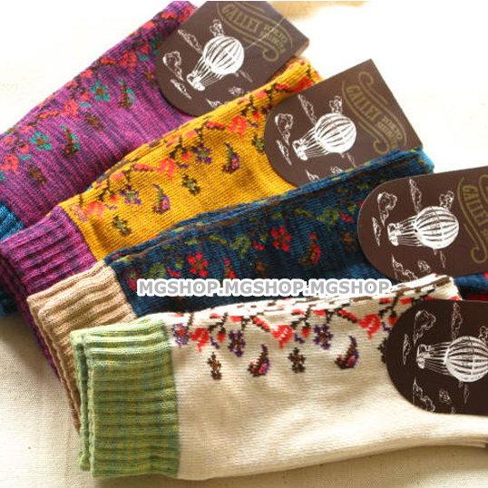 日韓系 澀谷民族風襪子純棉 中筒堆堆襪 藤蔓和風款-4色/單售