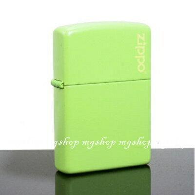 正版原裝 ZIPPO打火機 LOGO字樣-檸檬綠烤漆21122ZL(寬)