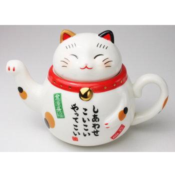 日本原裝日本製藥師窯系列招財貓泡茶茶壺7323