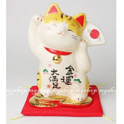 日本原裝藥師窯彩繪金運大滿足招財貓7739