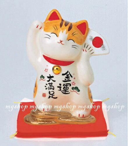 日本原裝 日本製 藥師窯招財貓系列-彩繪金運大滿足儲金箱7445
