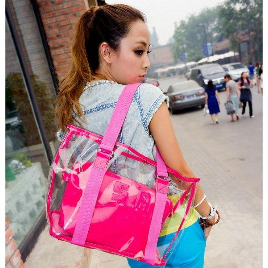 2012 女包包夏日透明包 網包水晶包 街頭休閒手提單肩包 沙灘大包~^(4款 單售^)^