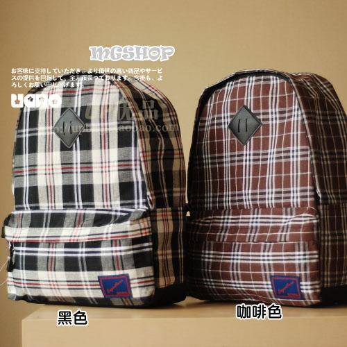 麻吉小舖:日本新款學院風復古棉麻布格紋電腦包雙肩包後背包(2色)單售