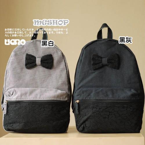 日本新款嬉皮紳士風蕾絲蝴蝶結千鳥格雙肩包後背包-3色單售