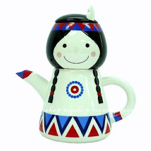 日本原裝 SUNART TEA FOR ONE 印地安女孩 杯茶壺組san-1909