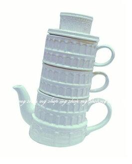 日本原裝 SUNART Pisa TEA SET 比薩斜塔 杯茶壺組san-1833