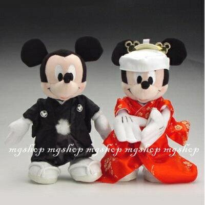 日本原裝迪士尼米奇&米妮結婚玩偶(對)-和風款