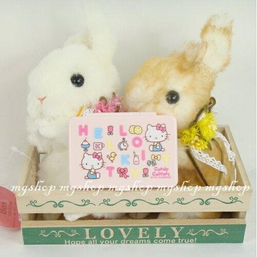 日本原裝HelloKitty凱蒂貓淺粉色隨身鏡飾品盒(日本製)