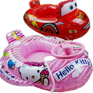 Disney 迪士尼 兒童車型坐圈 游泳圈 充氣船(凱蒂貓/CARS)單售