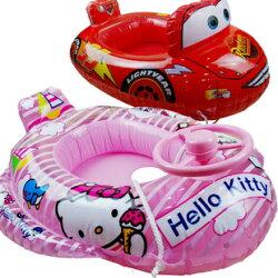 Disney 迪士尼 寶寶車型坐圈 游泳圈 充氣船(凱蒂貓/CARS)單售