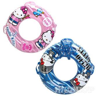 Hello Kitty 凱蒂貓 兒童圓形游泳圈直徑70CM-(粉色/藍色)單售
