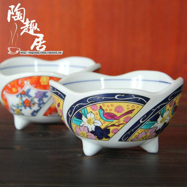 日式和風餐具傳統和風波浪邊三腳前菜碗2色單售