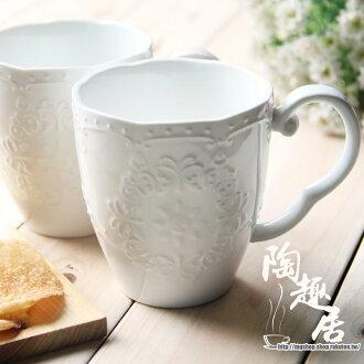 日式和風餐具 森英惠HANAE MORI浮雕情侶杯子/馬克杯 對杯組