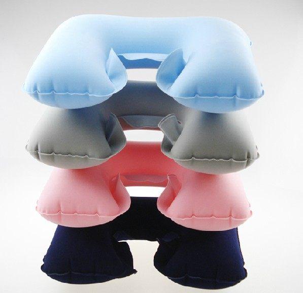 WELLHOUSE環保U型枕旅行枕電視枕吹氣枕充氣枕(粉藍灰深藍色)旅行用品
