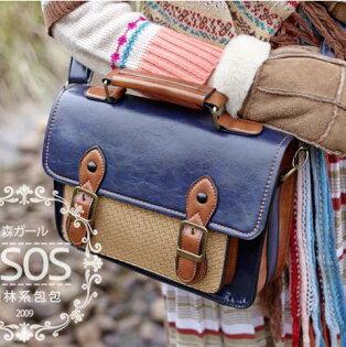 日系春季森林系學院風編織復古郵差包相機包單肩包斜背包-4色單售